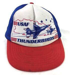 Vintage-1980-039-s-US-Air-Force-Thunderbirds-Mesh-Cap-Hat-F-16-A32