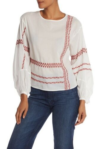 Joie Isandro Top XS Women's Casual Blouson Sleeve Embroidered Blouse NEW 19693