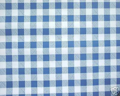 """2.2 m 86 /""""Carreaux Bleu Vinyle PVC Essuyer Housse Toile Cirée Lavables Table Nappe Co"""