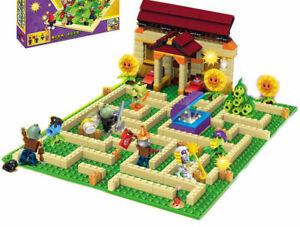 Plants vs zombies Anime Garden Maze Struck Game Building Blocks Bricks Lego Toys