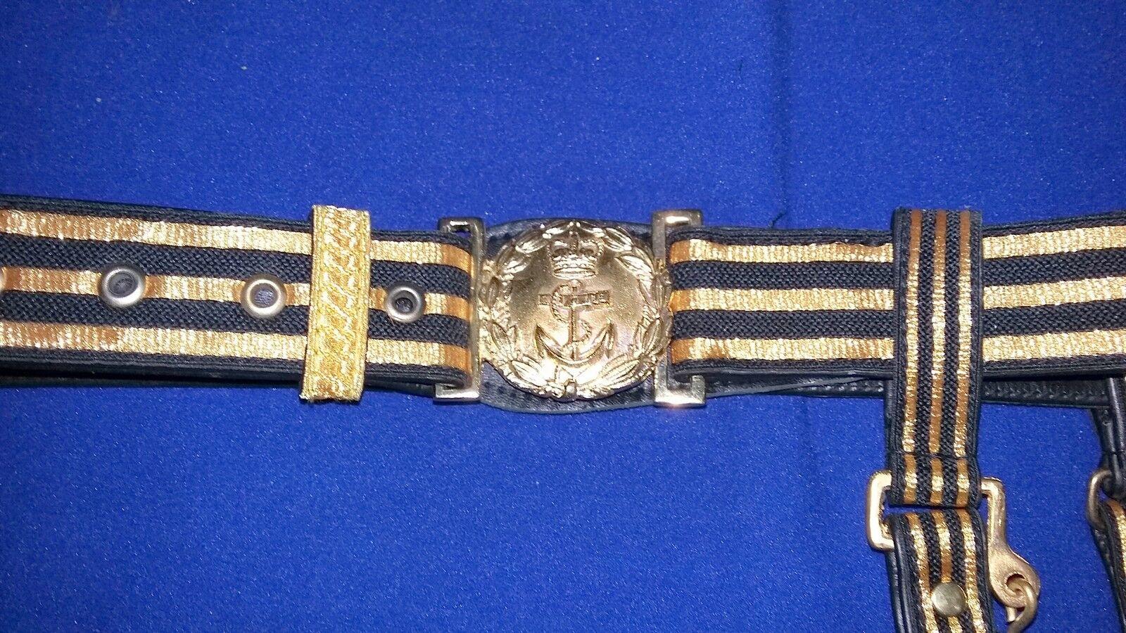 Rnf   Royal Navy Navy Navy fuerza de los Funcionarios Reglamento De Cuero Negro Espada cinturón   Lb50 f7380d