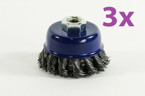 3x Drahtbürste new Kegelbürste 60mm Topfdrahtbürste Zopfbürste zum Entrosten