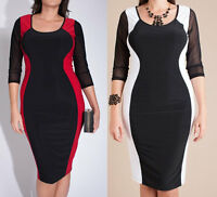 Plus Color Block Hourglass Bodycon Midi Dress Mesh Sleeve