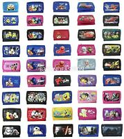 Licensed Kid's Tri-fold Canvas Wallet Disney Mickey, Minnie Mouse, Cars,avengers