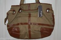 NEW! NWT! KOOBA Khaki Canvas / Leather ROSE Over the Shoulder Tote Bag $328