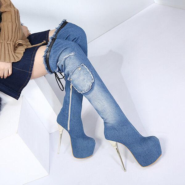 botas denim suave rodilla muslo 16 cm tacón de de de aguja alto 9677  nueva gama alta exclusiva
