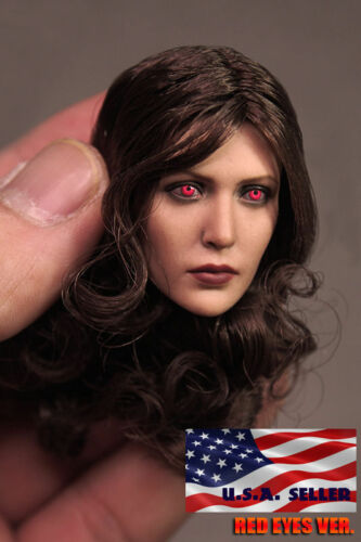 "1//6 Elizabeth Olsen Scarlet Witch Red Eye Head Sculpt For 12/"" Hot Toys Phicen"