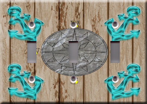Sail cruise travel Marine anchor boat compass brown Light Switch Plate Cover