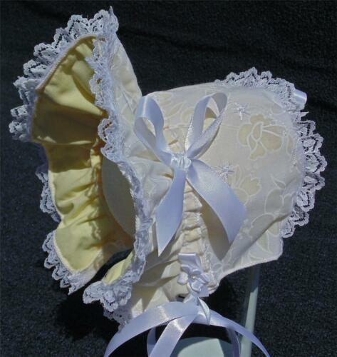 New Handmade White Floral Embroidery with Yellow Lining Baby Bonnet