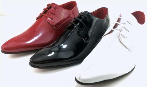 Herren Brogues rot weiß schwarz Lack Gangster Spitz Leder Jazz Knatsch Schuhe