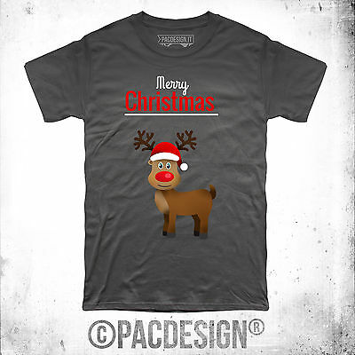 T-SHIRT DONNA RENNA RUDOLF CHRISTMAS NATALE REGALO VINTAGE SO HAPPINESS NE0115A