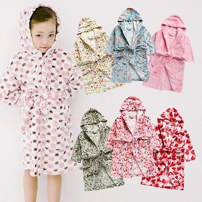 """Vaenait Baby Kids Soft Plush Hooded Bathrobes Dressing Gown """"robe Girls"""" 1t-7t"""
