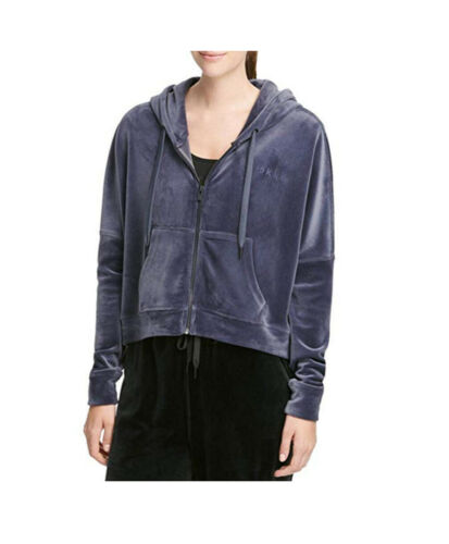 New DKNY Womens Velour Full Zip Hoodie Large Navy