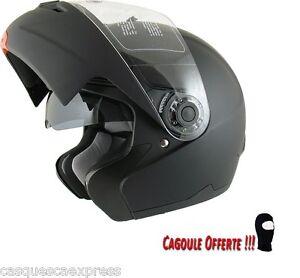 CASQUE-SCOOTER-MOTO-AMX-MODULABLE-910-NOIR-MAT-VISIERE-SOLAIRE-CAGOULE-OFFERTE
