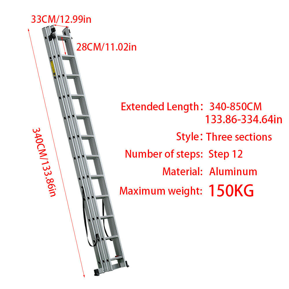 Multi-purpose Triple Extension Ladders Aluminum Ladders Household Lightweight UK
