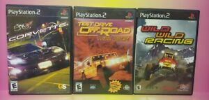 3 Game Racing Lot PS2 Playstation 2 Complete Works Corvette Test Drive Wild Race