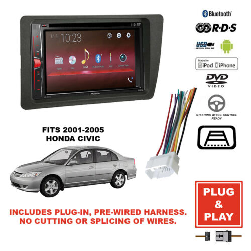 Pioneer Plug-In Double DIN USB Bluetooth Stereo Dash Kit For 2001-05 Honda Civic