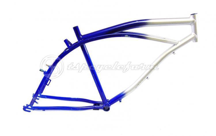 Beach Cruiser-Fahrrad-Rahmen 26 kundenspezifische Stadtrad Stahl silber blau 1     4514ab