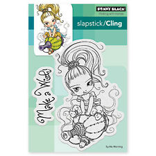New Penny Black LITTLE GINI Slapstick Cling Rubber Stamp Girl Magic Bottle Genie
