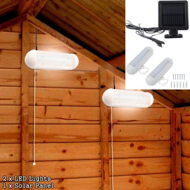 2 Solar Led Shed Light Wall Indoor Corridor Garden Yard Garage Pull Lamps