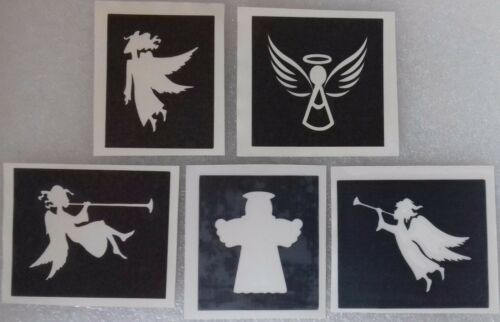 30 x Angel stencils for etching on glass mixed gift present hobby Christmas