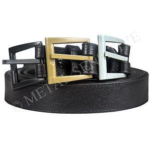 Style De Mode Nickel Safe 30mm Noir Italien Fine Ceinture En Cuir * Métal Boucle Plastique Gratuite *-afficher Le Titre D'origine Non Repassant