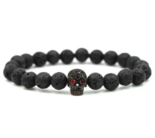Charm Lava Stone Zircon Black Skull Head Beads Braided Macrame Bracelets Men S