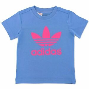 Details about Adidas Originals AC Trefoil Tee Children Girls T Shirt Bright Blue Pink 92 140 show original title