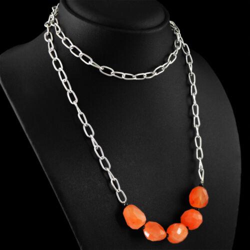 Haute Qualité 217.05 Cts Naturel Riche Orange Cornaline disque à Facettes Perles Collier
