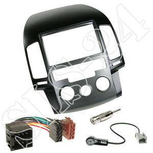 Hyundai i20 ab 2014 Doppel 2-DIN Radio Blende Antenne Stecker ISO KFZ Adapter