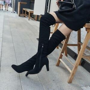 Womens-Slouch-Long-Over-Knee-Boots-Block-Heel-Suede-Fashion-Lace-Up-Zip-Shoes-37