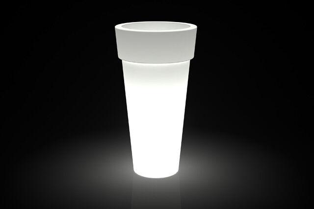 Vaso resina Luminoso Luce Tondo Bordato 56x34xH105 cm cm moderno esterno interno