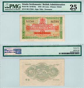 Straits-Settlements-10-Cents-P-8b-1919-PMG-25