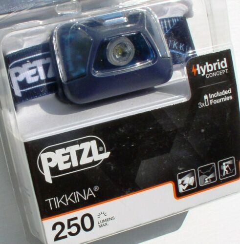 Headlight Petzl Stirnlampe Tikkina Kopf-Leuchte Kopflampe Blue 250 Lumen