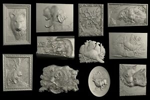 6 Pcs 3D STL Model WILD ANIMALS for CNC Router Aspire Artcam 3D Printer Engraver