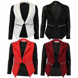 Women-039-s-PU-Long-Sleeve-Zip-Quilted-Diamond-Stitch-Ladies-Open-Blazer-Jacket-Top