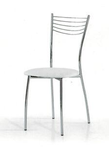 Sedia moderna bianca struttura in acciaio seduta tonda for Sedia moderna bianca