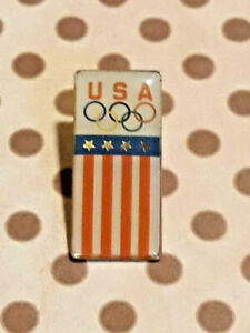 Vtg-Patroitic-American-Flag-Colors-USA-Olympic-Team-Lapel-Pin-Ships-FREE