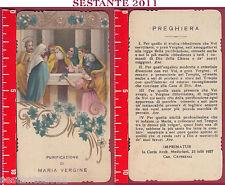1823 SANTINO HOLY CARD PURIFICAZIONE DI MARIA VERGINE MEDIOLANI CAVEZZALI