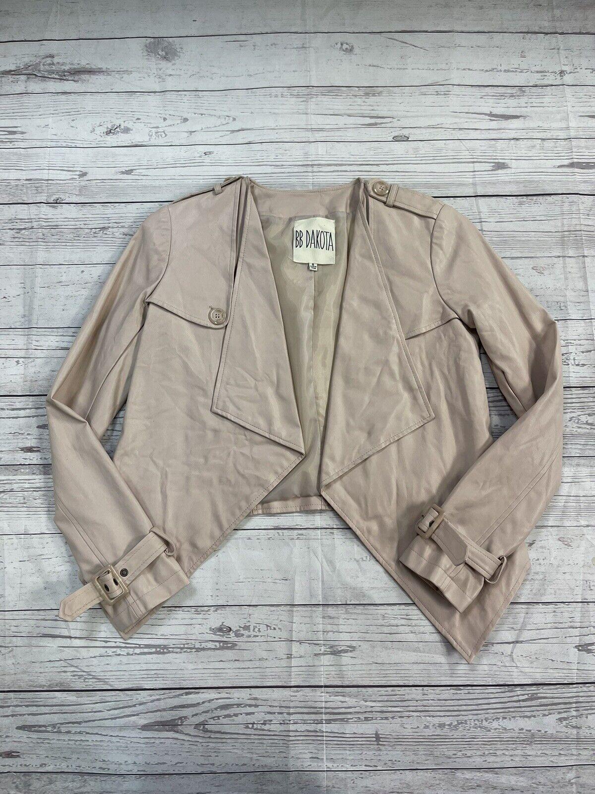 BB Dakota Blush Pink Faux Leather Moto Jacket Women's Size Small