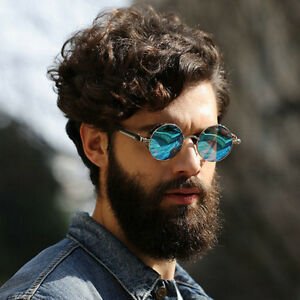 8246ffb4b Image is loading Vintage-Polarized-Steampunk-Sunglasses-Men-Fashion-Round -Mirrored-