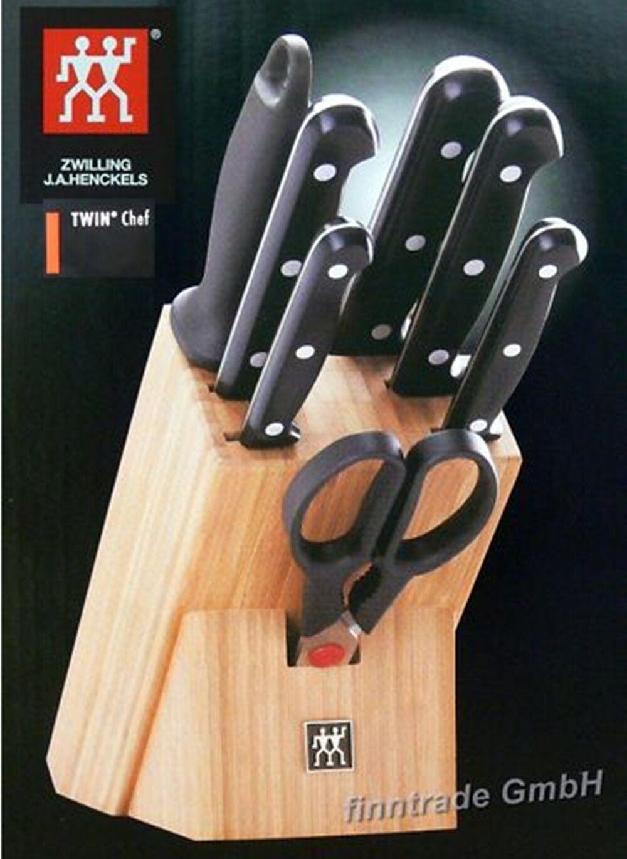 Zwilling Couteaux Bloc set de couteaux Twin chef 8 pièces avec ciseaux couteau de cuisine NEUF