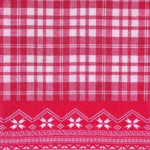Chalet-check-red-knitting-christmas-paper-napkins-cocktail-tea-new-20-in-pack