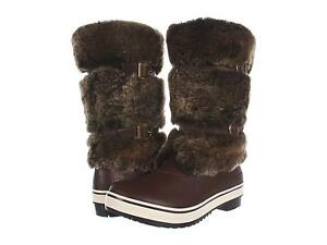 f4d2608cde2 Details about UGG WOMENS LILYAN BOOTS SNOW WATERPROOF LEATHER FUR BROWN  SIZE 8 FITS 7 NEW