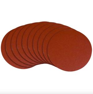 Powertec 8 in 180 Grit Oxide Sanding Disc Pad Adhesive 10 Pack Sander Sandpaper