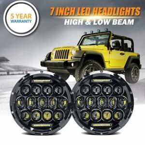 2x 85W 7inch Round Black Halo Led Headlight Hi-Lo Beam For Freightliner Century