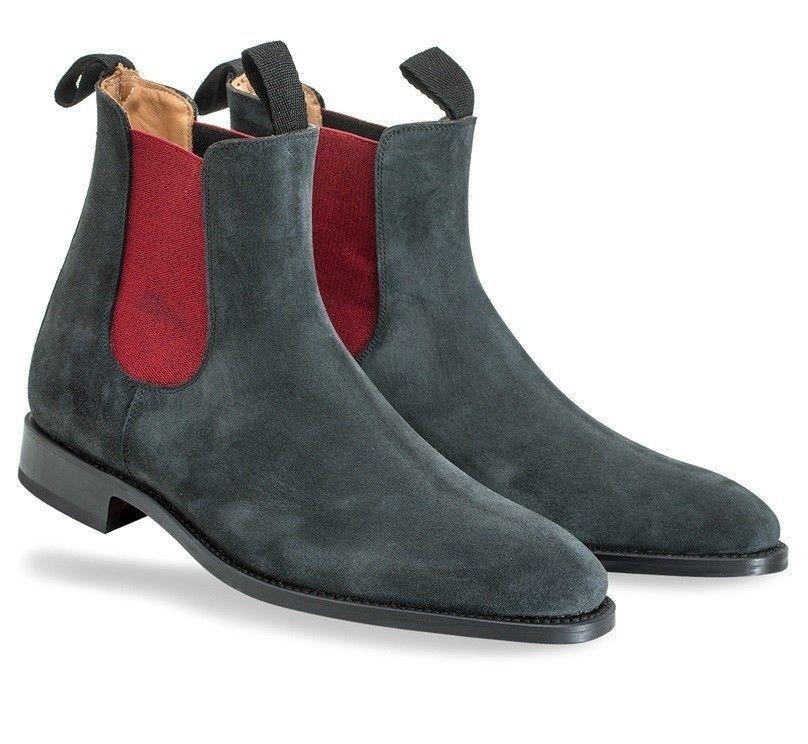 hombres Fatto A Mano Scamosciato Pelle zapatos gris Scuro Alto Caviglia botas