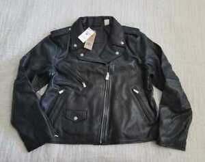 New Women S Xs S M Xl Levi S Relaxed Black Leather Moto Jacket