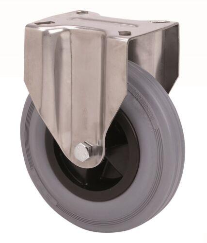 Satz Edelstahlrolle Gummi grau 160 mm Platte Bock Lenkrolle mit Bremse INOX V2A