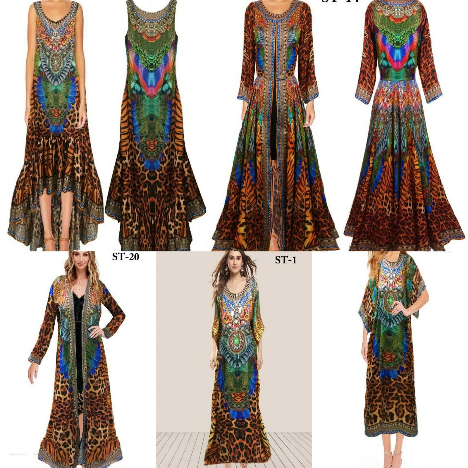Christmas Gift 50 Assorted Digital Print Women Kaftan Long Beach Party Dress